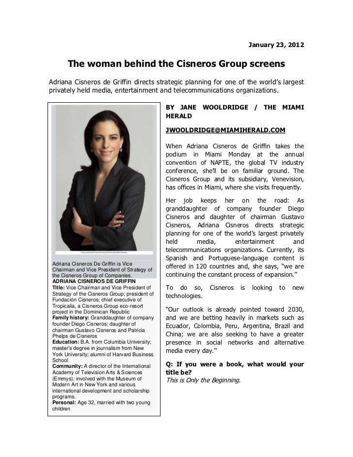 Adriana Cisneros- Entrevista The Miami Herald