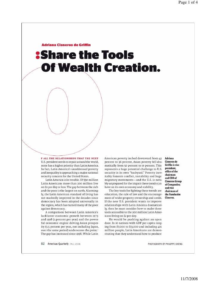 """Adriana Cisneros """"Share the tools"""" - Americas Quarterly - 11 08"""