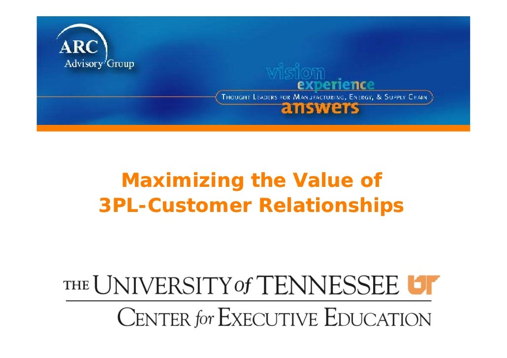 Maximizing the Value of3PL-Customer Relationships