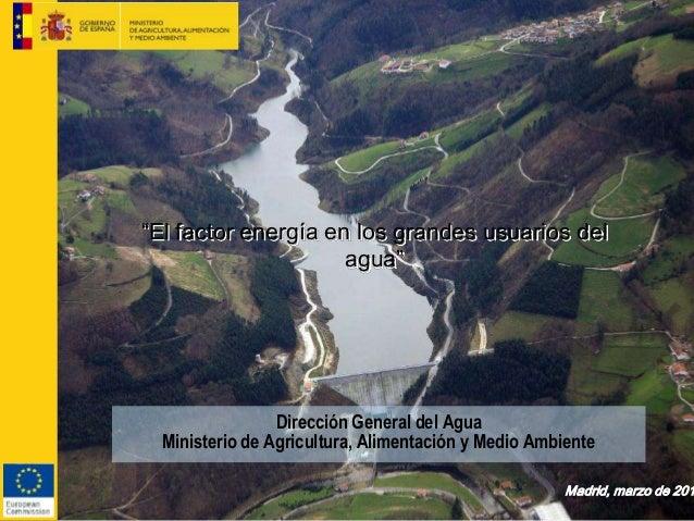 """Dirección General del Agua Ministerio de Agricultura, Alimentación y Medio Ambiente """"El factor energía en los grandes usua..."""