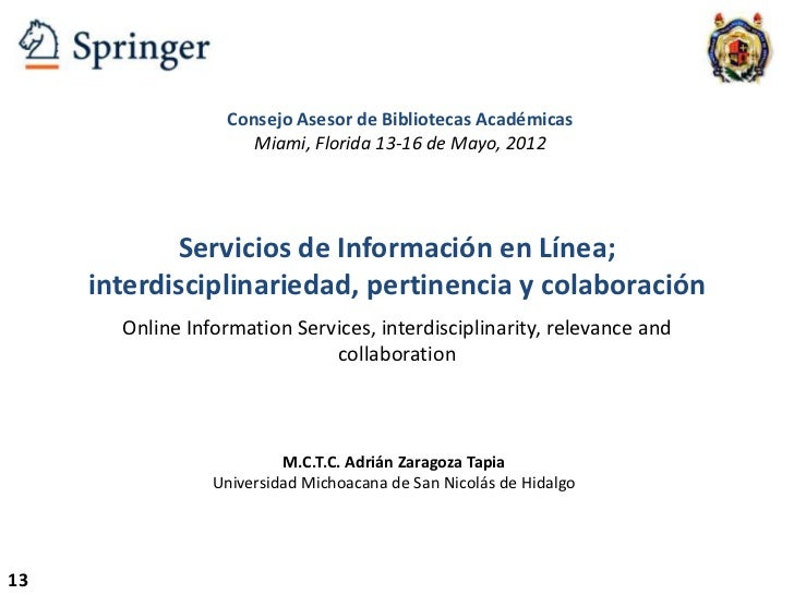 Servicios de Información en Línea; usabilidad, visibilidad y colaboración