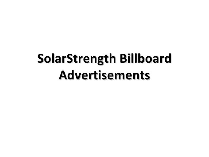 SolarStrength Billboard Advertisements