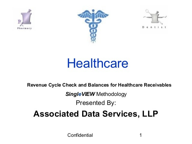 Confidential 1 Healthcare SingleVIEW Methodology Presented By: Associated Data Services, LLP Revenue Cycle Check and Balan...