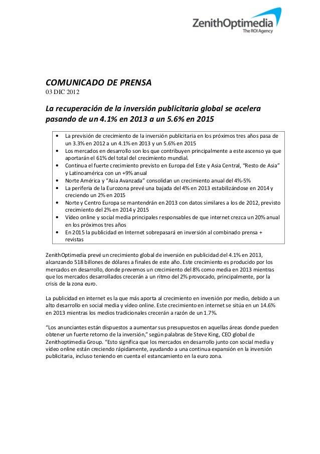 Adspend forecasts december 2012   español