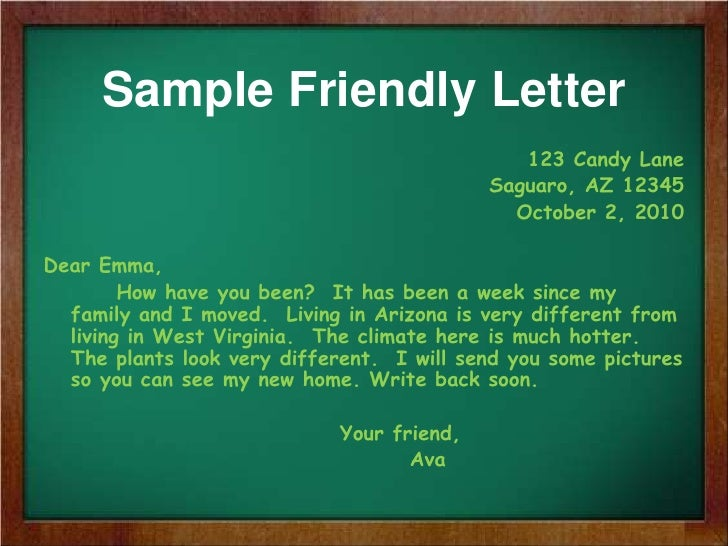 friendly letter writing sample