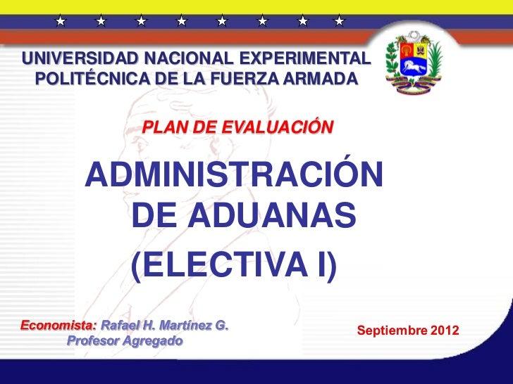 Aduanas.  plan de evaluación 19 de septiembre de 2012