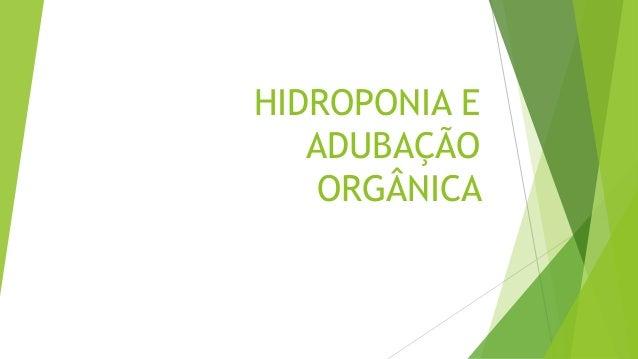 HIDROPONIA E ADUBAÇÃO ORGÂNICA