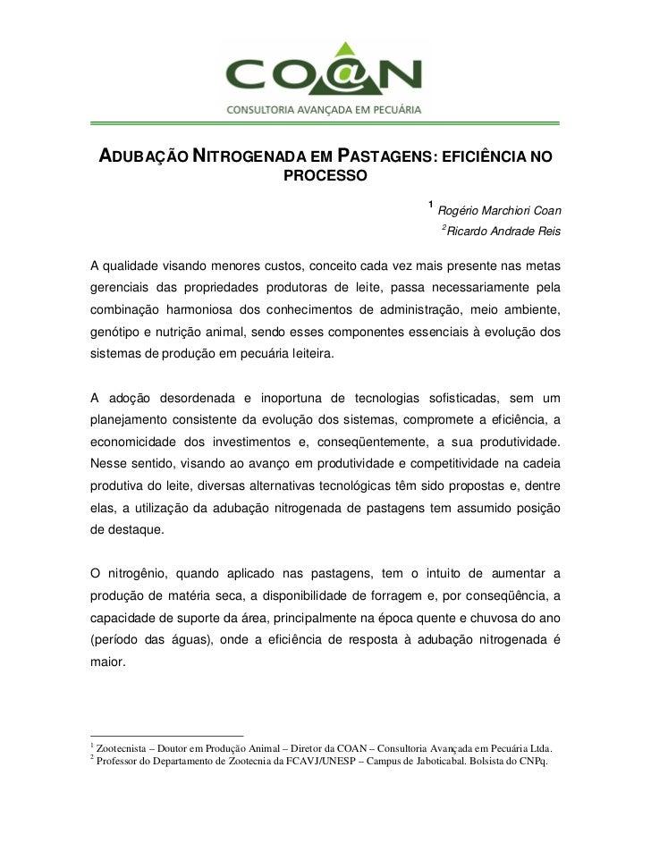 ADUBAÇÃO NITROGENADA EM PASTAGENS: EFICIÊNCIA NO                                            PROCESSO                      ...