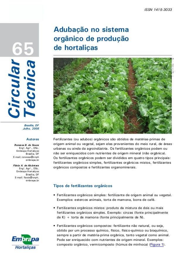 ISSN 1415-3033 65 Adubação no sistema orgânico de produção de hortaliças Circular Técnica Brasília, DF Julho, 2008 Autores...