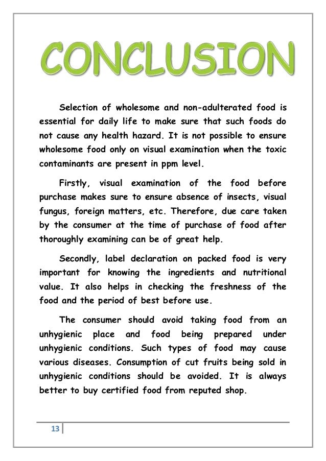 conclusion to food adulteration