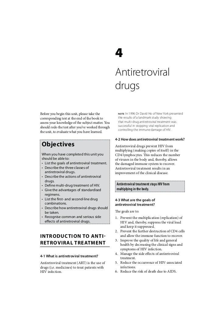 Adult HIV: Antiretroviral drugs