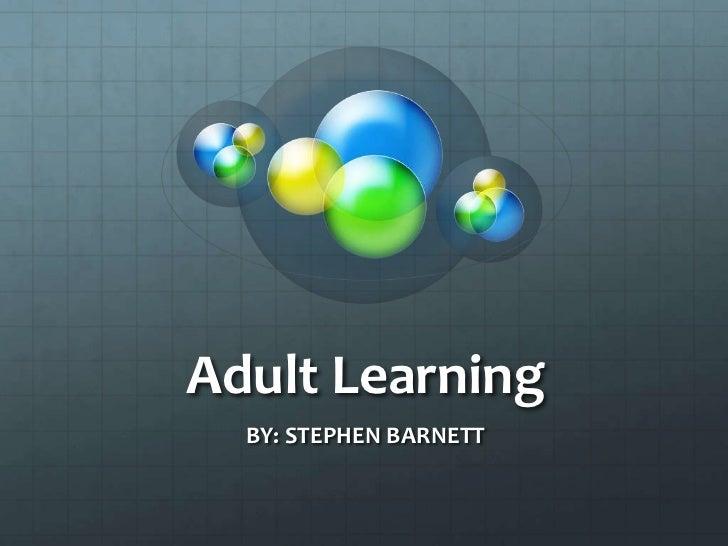Adult Learning  BY: STEPHEN BARNETT
