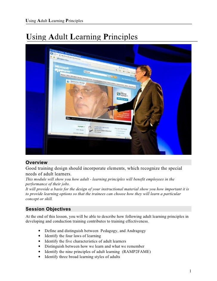 Adult learning principles_handout