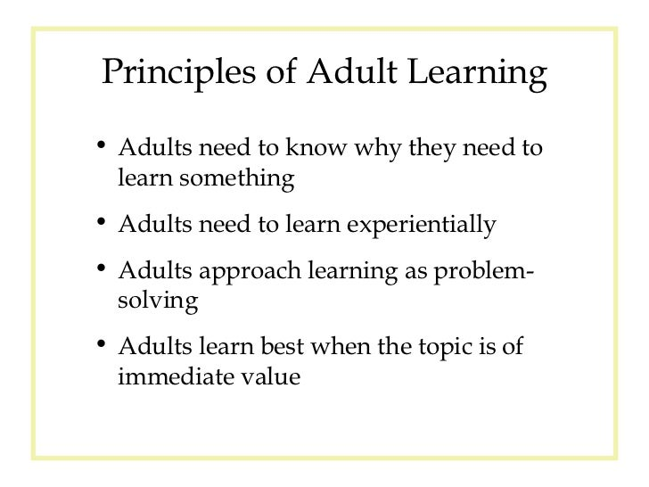 7 principles of adult learning