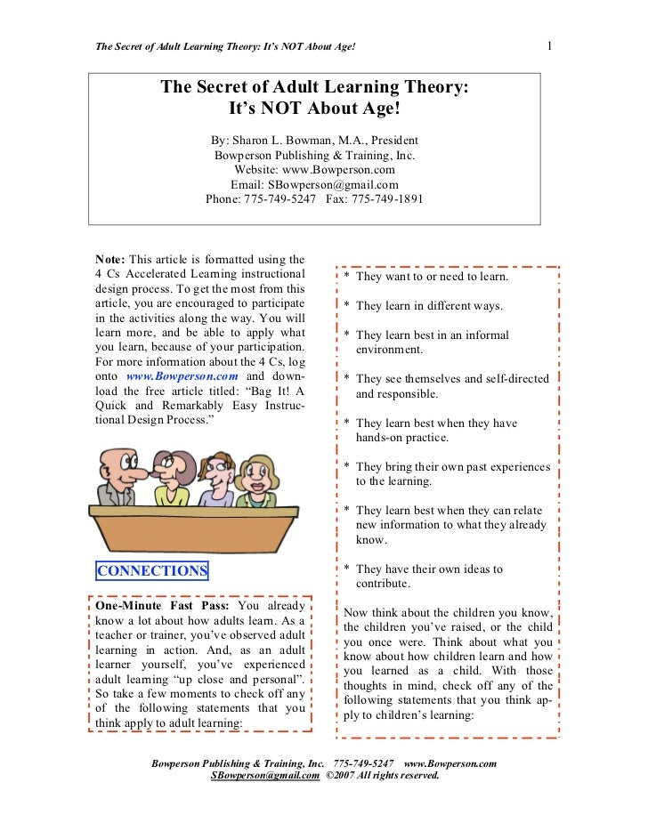The Secret of Adult Learning Theory: It's NOT About Age!                                   1             The Secret of Adu...