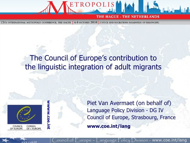 Metropolis 2010 - The Council of Europe's contribution to the linguistic integration of adult migrants