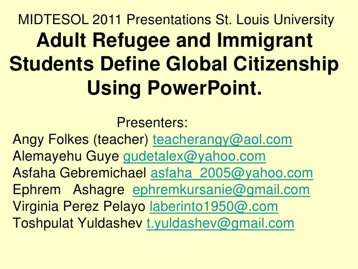 Adult refugee & immigrant students define global citizenship using Power Point