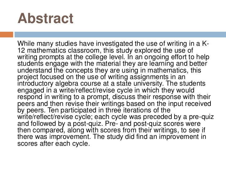 Abstract<br />While many studies have investigated the use of writing in a K-12 mathematics classroom, this study explored...