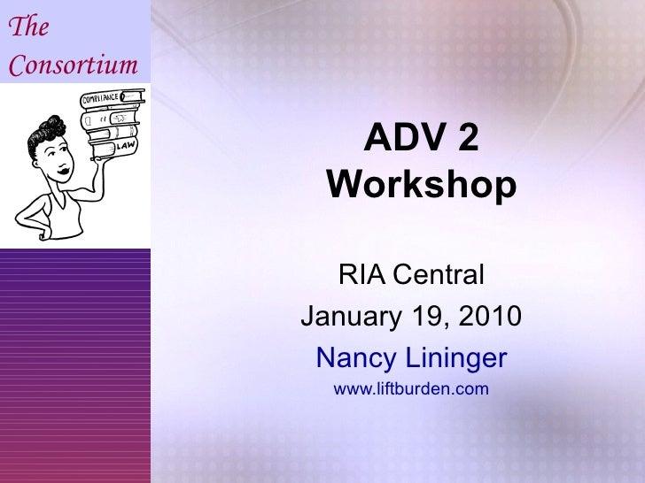 Form ADV 2 Workshop