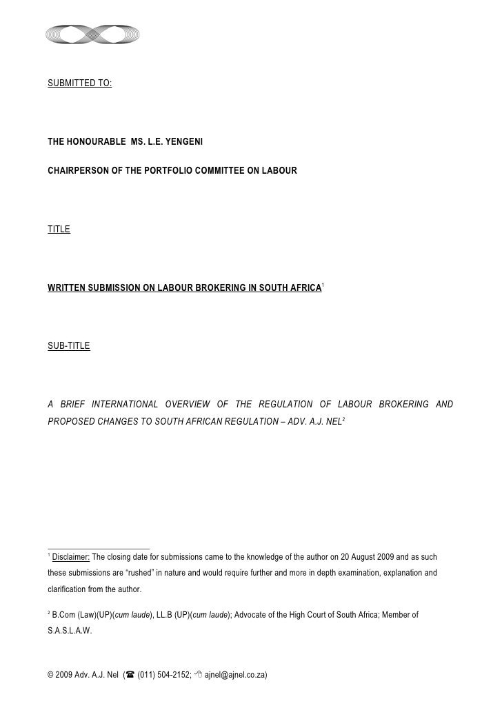 SUBMITTED TO:     THE HONOURABLE MS. L.E. YENGENI  CHAIRPERSON OF THE PORTFOLIO COMMITTEE ON LABOUR     TITLE     WRITTEN ...
