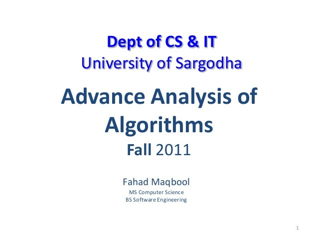 Advance analysis of algo