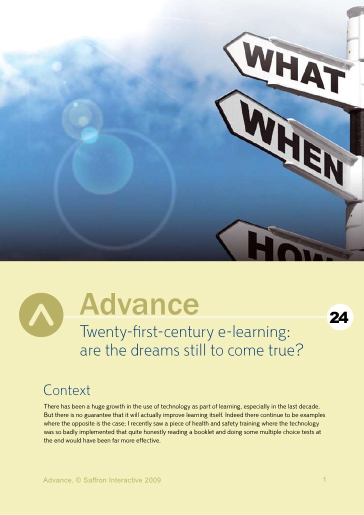24              Twenty-first-century e-learning:              are the dreams still to come true?  Context There has been a...