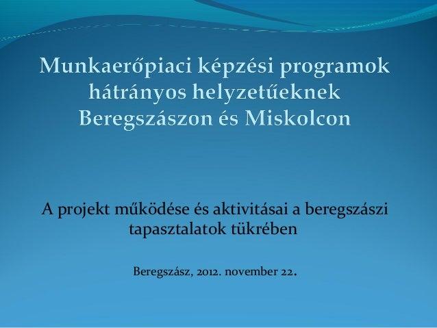 A projekt működése és aktivitásai a beregszászitapasztalatok tükrébenBeregszász, 2012. november 22.