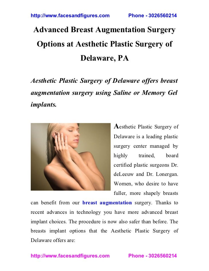 Advanced Breast Augmentation Surgery Options at Aesthetic Plastic Surgery of Delaware, PA