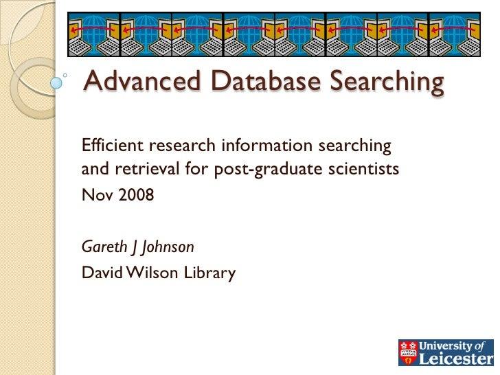 Advanced Database Searching Nov08