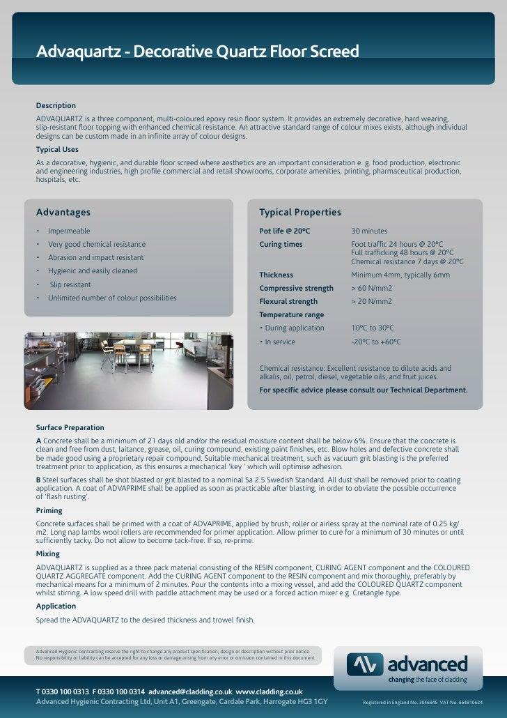 Advaquartz - Decorative Quartz Floor Screed  Description ADVAQUARTZ is a three component, multi-coloured epoxy resin floor...