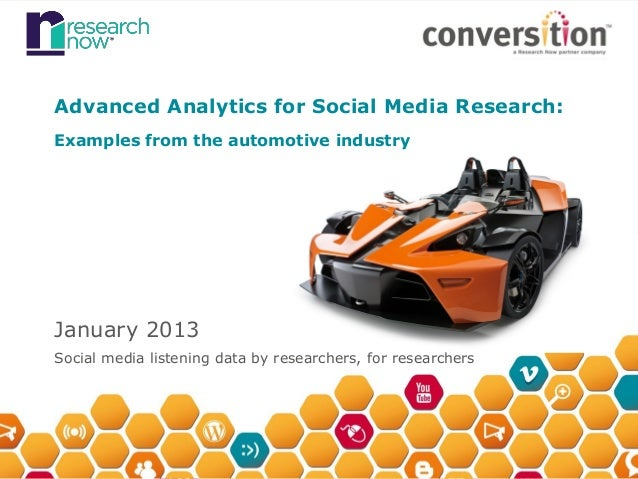 Advanced Analytics for Social Media Research:Examples from the automotive industryJanuary 2013Social media listening data ...