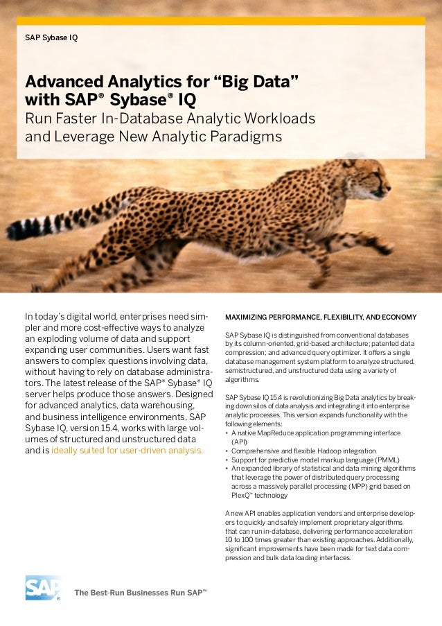 "SAP Sybase IQAdvanced Analytics for ""Big Data""with SAP® Sybase® IQRun Faster In-Database Analytic Workloadsand Leverage Ne..."