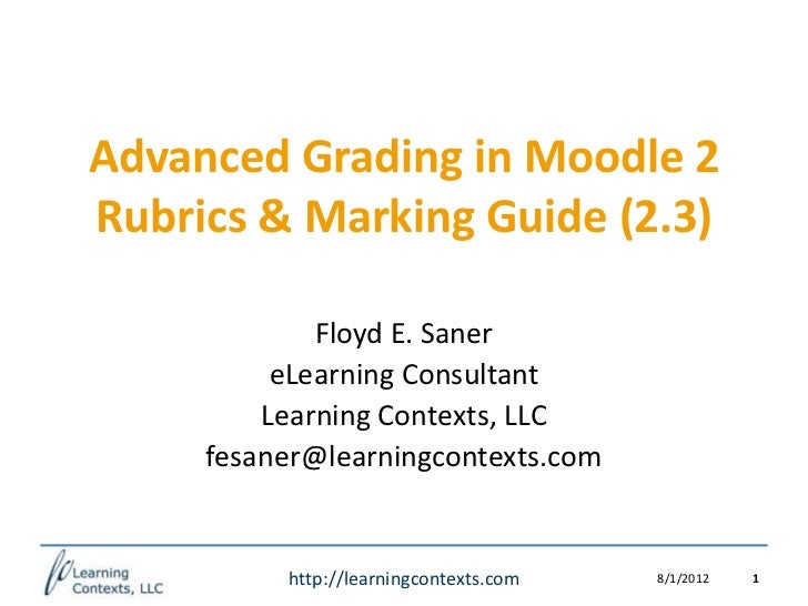 Advanced Grading in Moodle 2Rubrics & Marking Guide (2.3)             Floyd E. Saner          eLearning Consultant        ...