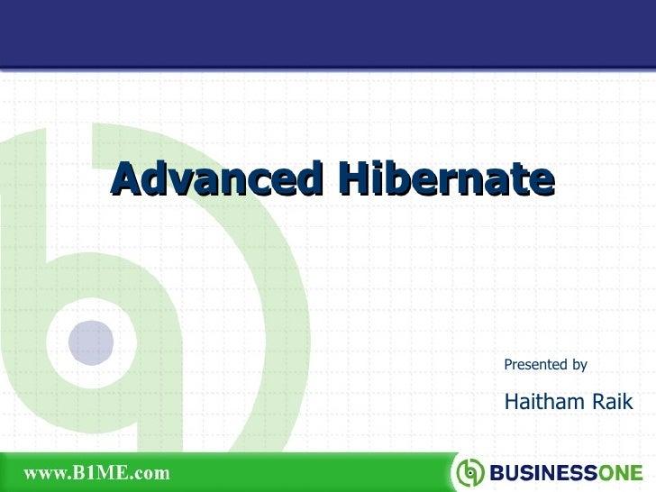 Advanced Hibernate