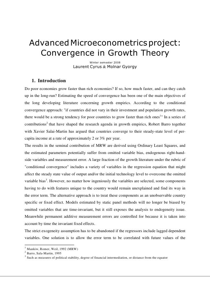 Advanced Microeconometrics project:       Convergence in Growth Theory                                                 Win...