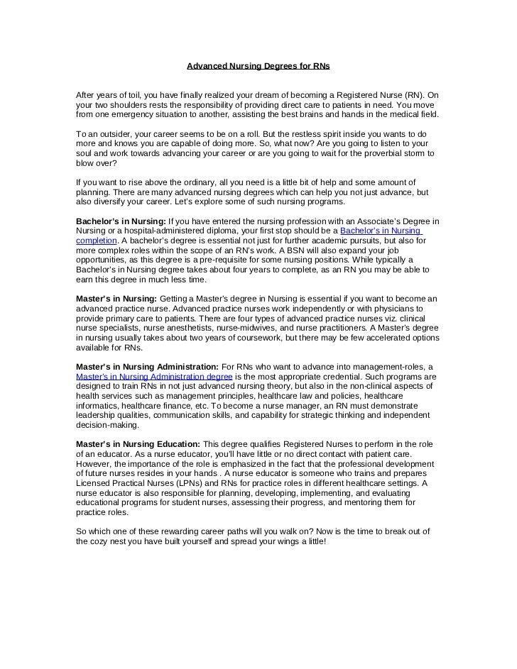 Advanced Nursing Degrees for RNs