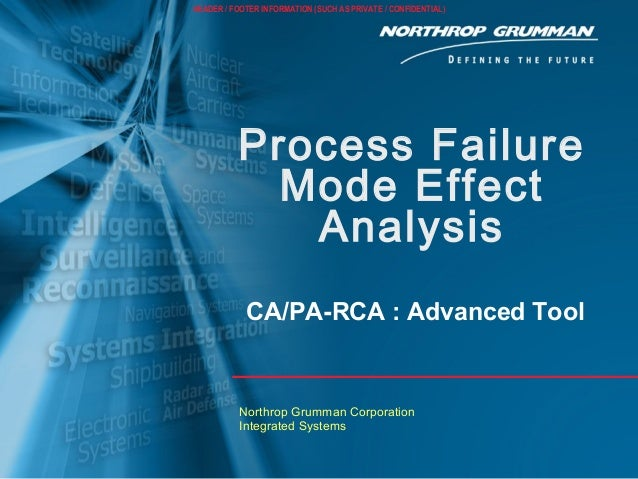 Process Failure Mode Effect Analysis Northrop Grumman Corporation Integrated Systems  CA/PA-RCA : Advanced Tool