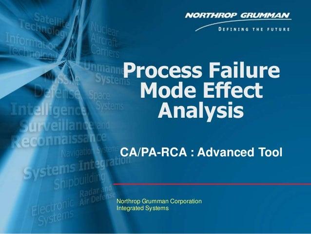 Process Failure Mode Effect Analysis CA/PA-RCA : Advanced Tool  Northrop Grumman Corporation Integrated Systems