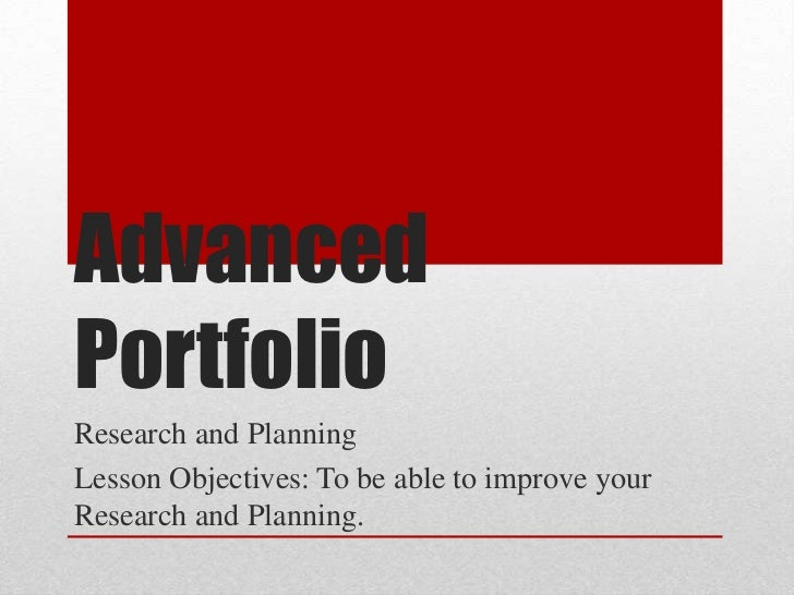 Advanced portfolio improving coursework