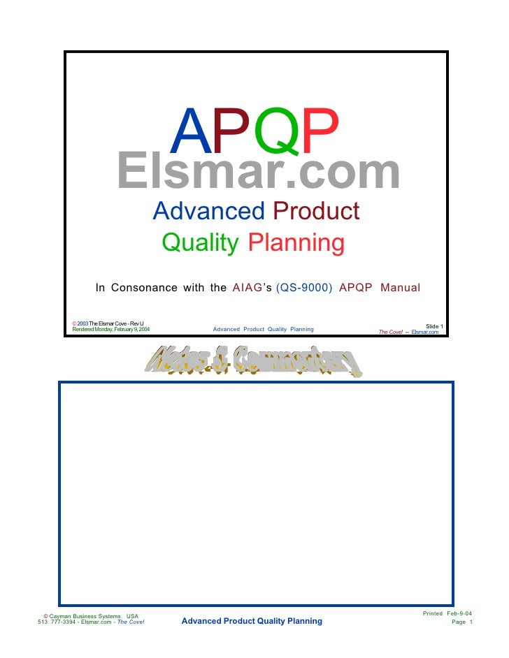 Advanced Product Quality Planning  Apqp