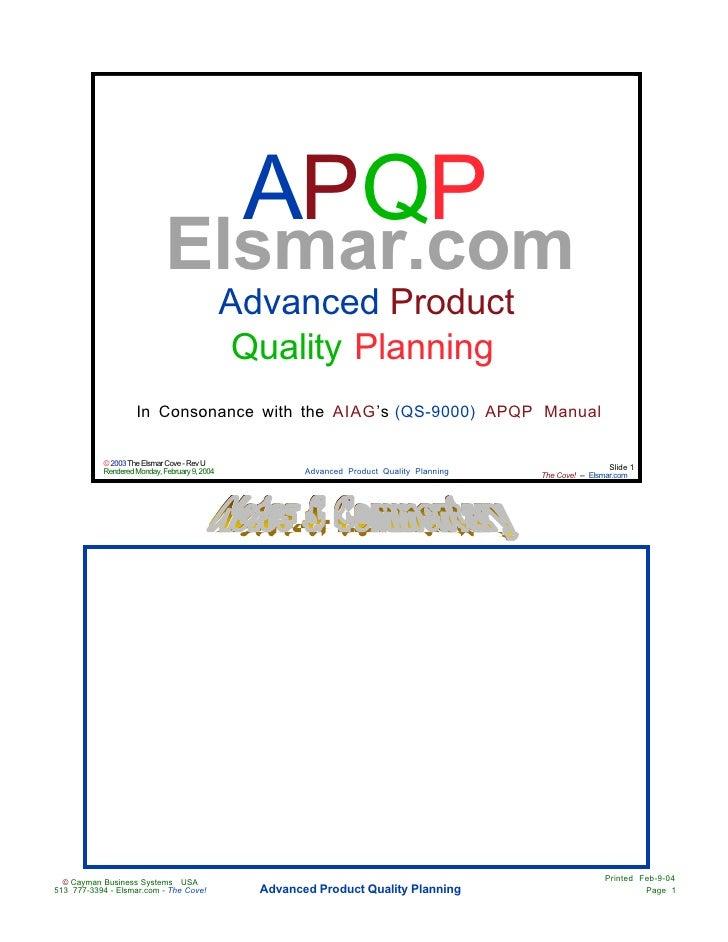 APQP                              Elsmar.com                                                Advanced Product              ...