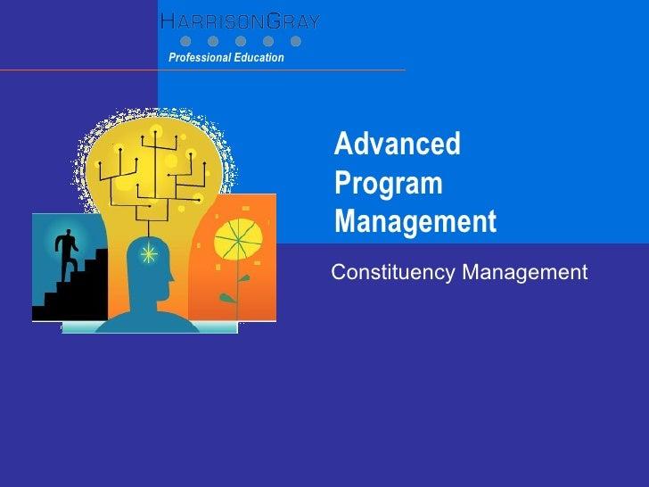 Advanced  Program Management Constituency Management