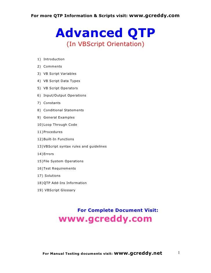 Advanced Qtp Book