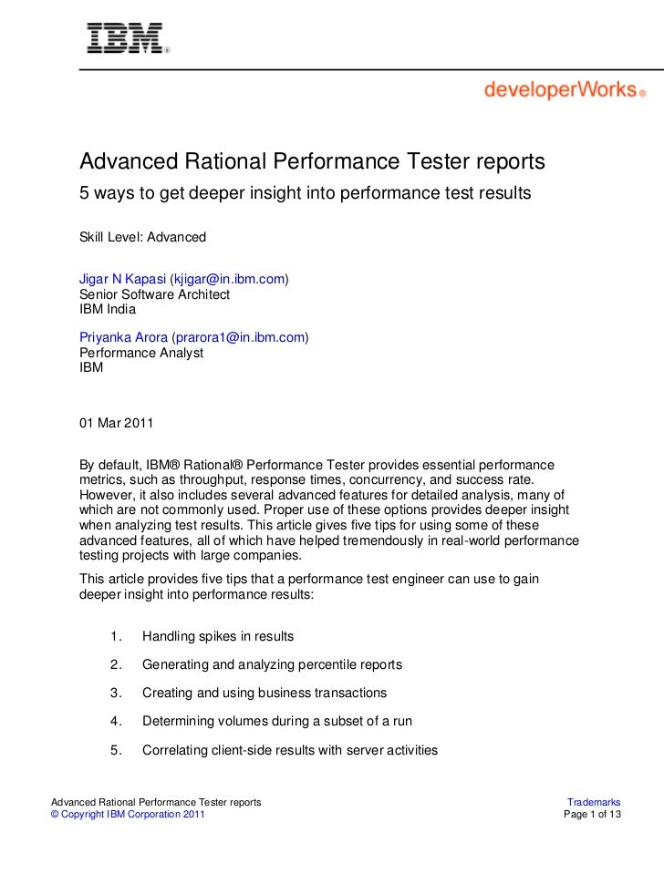 Advanced Rational Performance Tester reports     5 ways to get deeper insight into performance test results     Skill Leve...