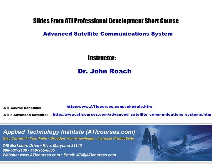 Advanced Satellite Communications Systems Technical Training Course Sampler