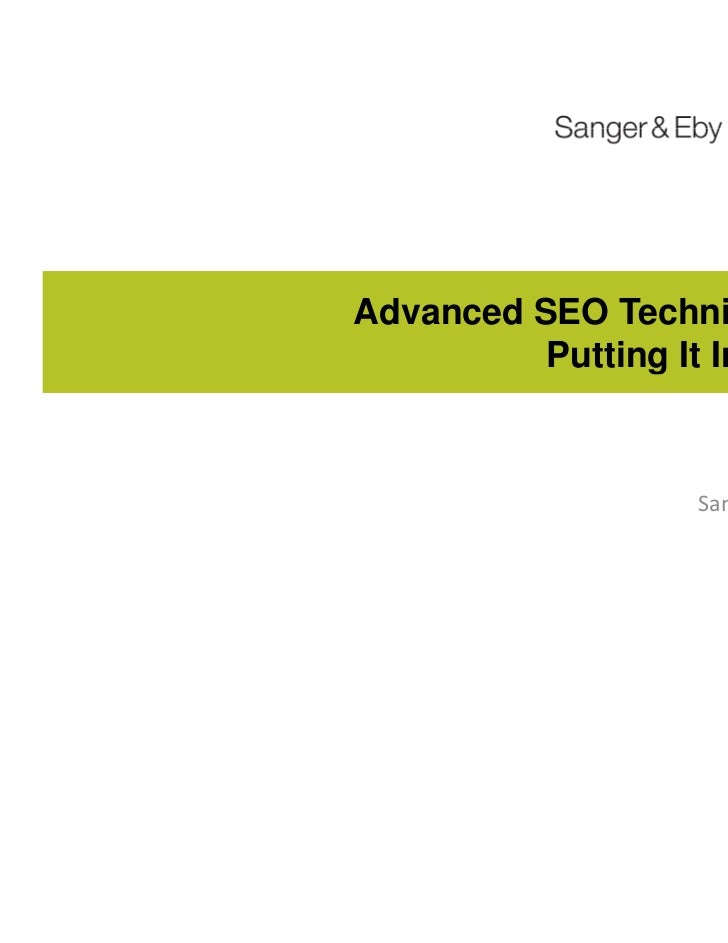 Advanced SEO Techniques: Putting It In Play