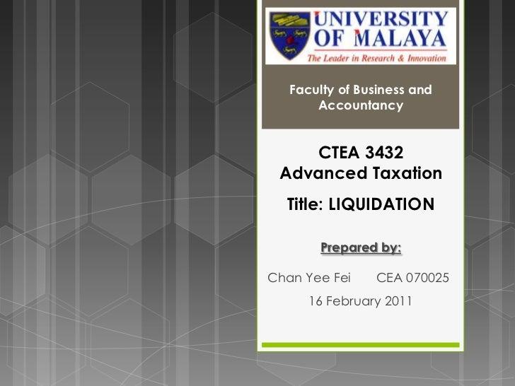 Advanced taxation 2011 (liquidation)
