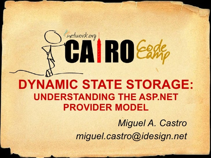 DYNAMIC STATE STORAGE: UNDERSTANDING THE ASP.NET PROVIDER MODEL Miguel A. Castro [email_address]