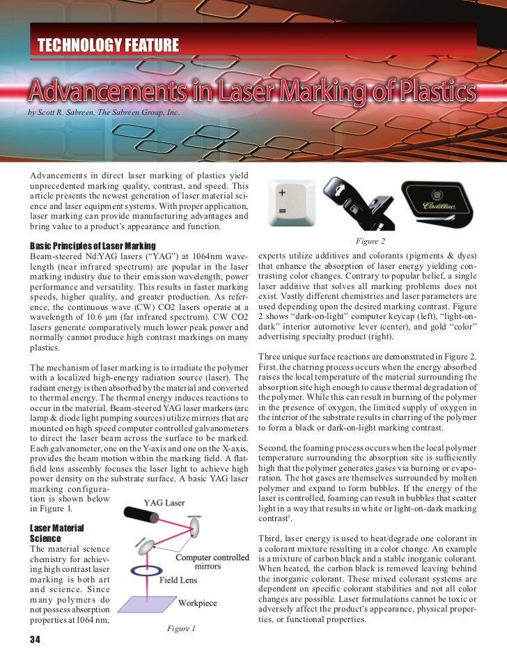 TECHNOLOGY FEATUREAdvancements in Laser Marking of Plasticsby Scott R. Sabreen, The Sabreen Group, Inc.Advancements in dir...