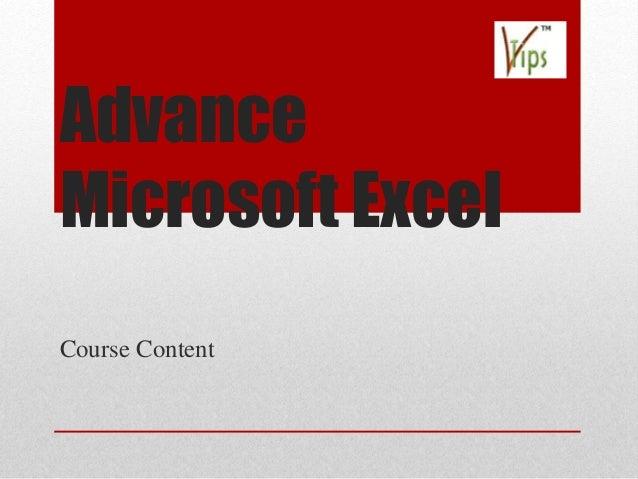 Advance Microsoft Excel Course Content